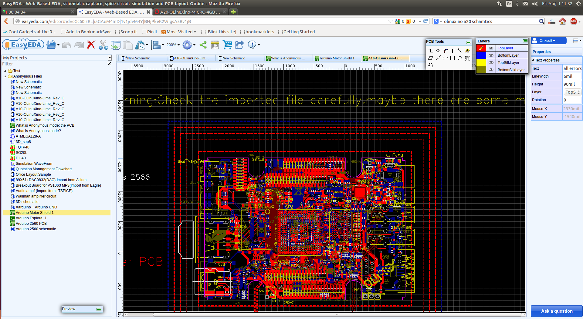 Easyeda Is A Web Based Schematics Capture Simulation And Pcb Schematic Available In Pdf Eagle Formats The Olinuxino A10 Lime Imported To Click Enlarge Layout