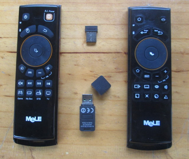 Mele F10 vs Mele F10 Deluxe - Remot Side and Dongles (Click to Enlarge)