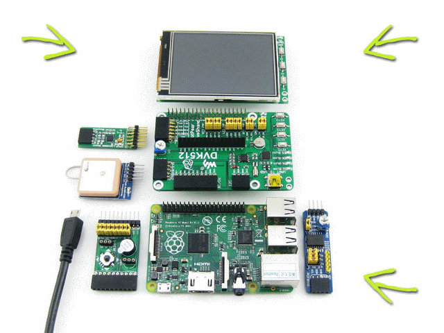 """Top to Bottom, Left to Right: 3.2"""" Toucjscreen, DVK512 board, Mix Board, R-Pi B+, and"""