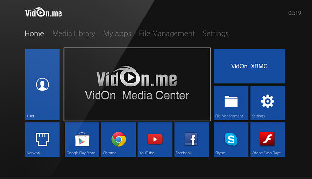 VidOn Box Home Screen (Click to Enlarge)