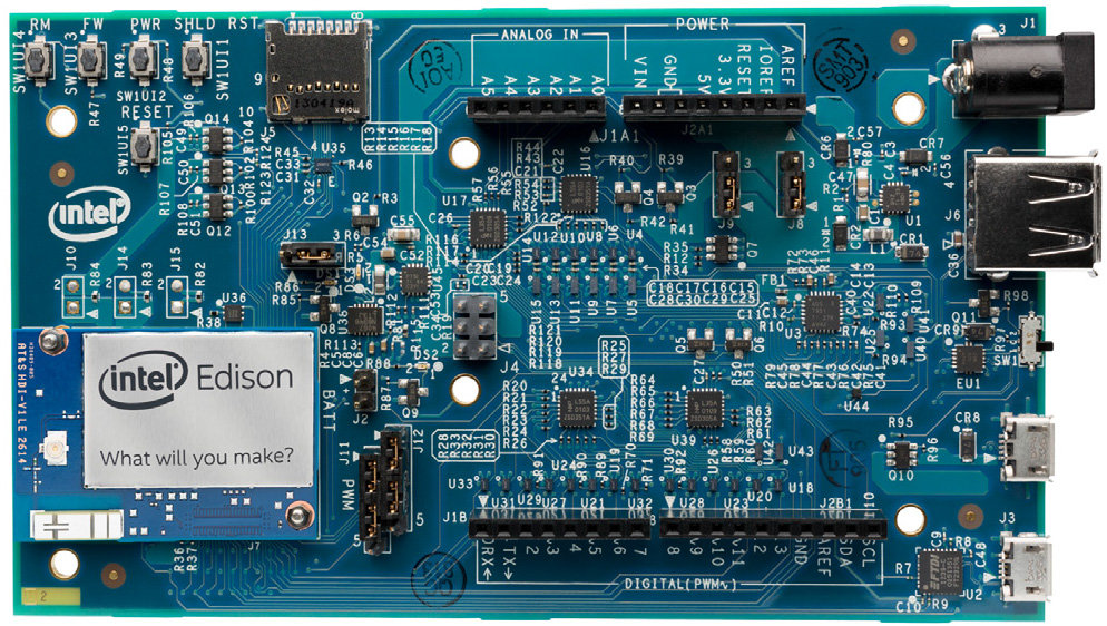 Intel edison board for wearables features an soc with
