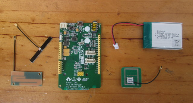 LinkIt ONE, Antennas, and Battery (Click to Enlarge)