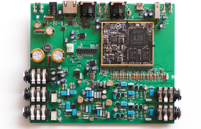 MOD Duo Board with Hi-Fi Sound Card and A20 SoM (Click to Enlarge)
