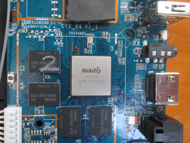 Zoom on Rocchip RK3288 SoC (Click to Enlarge)