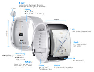 Samsung Gear S Description (Click to Enlarge)
