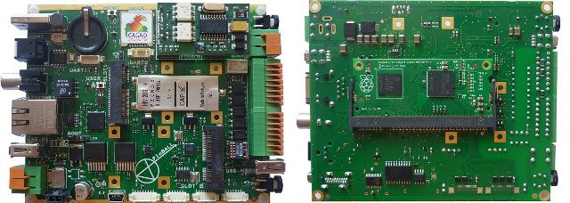 Calao Systems PInBall Board with R-Pi Module (Click to Enlarge)