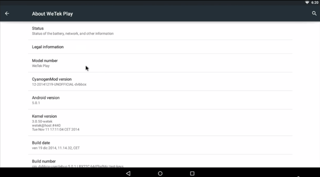 Android 5.0 on WeTek Play (Click to Enlarge)