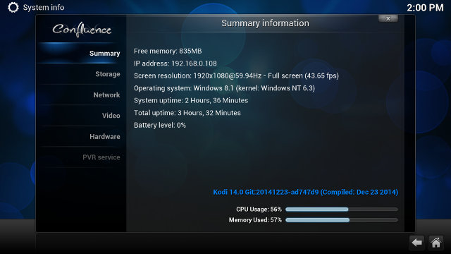 Kodi 14.1 on Mele PCG03 (Click for Original Size)