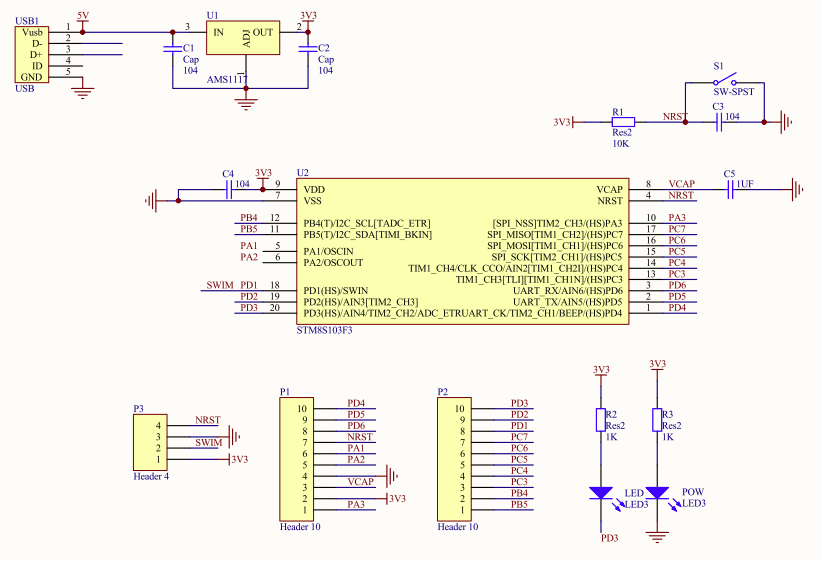 STM8S Board Schematics (Click to Enlarge)