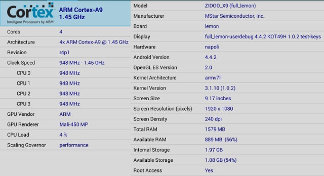 Mstar 9810 CPU-Z (Click to Enlarge)