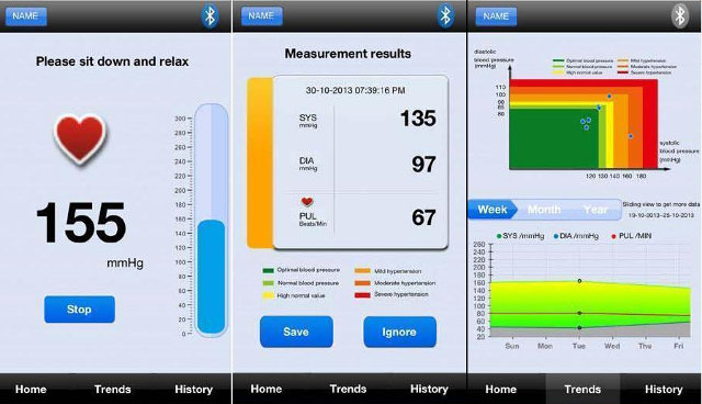 Bluetooth BP Monitor App (Click to Enlarge)