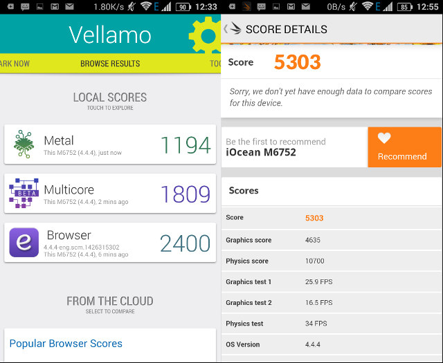 Vellamo 3.1 and Ice Stoerm Extreme Benchmark Results