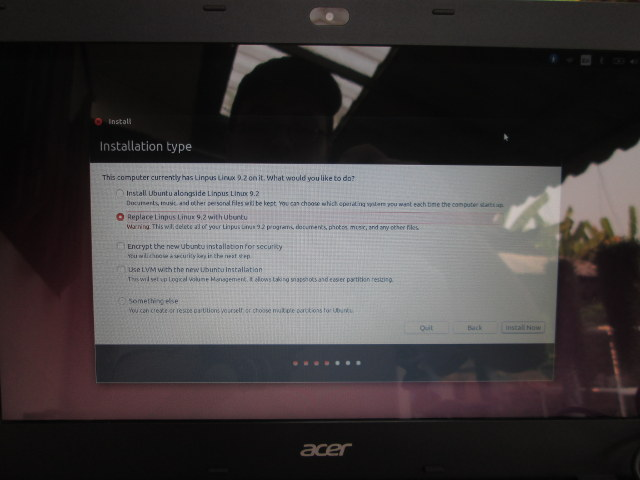 Ubuntu_Acer_Aspire_E5_Installation_Type_Replacing_Linpus