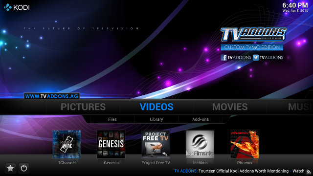 Kodi 14 with TVaddons Installed (Click for Original Size)