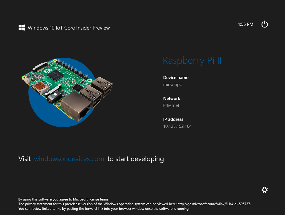 Windows 10 IoT Default App for RPi 2 (Click to Enlarge)