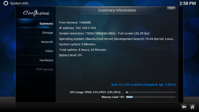 Kodi 14.2 in MeLE PCG03 (Click for Original Size)