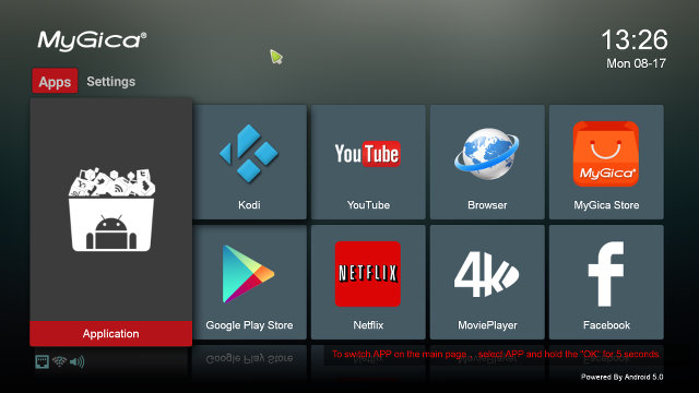"""""""Mygica Android 5.0"""" Launcher (Click for Original Size)"""