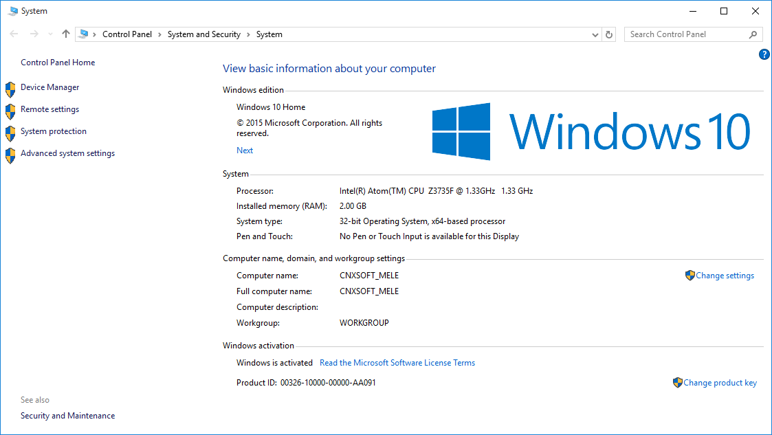 Windows 10 Activated on MeLE PCG03 (Click to Enlarge)