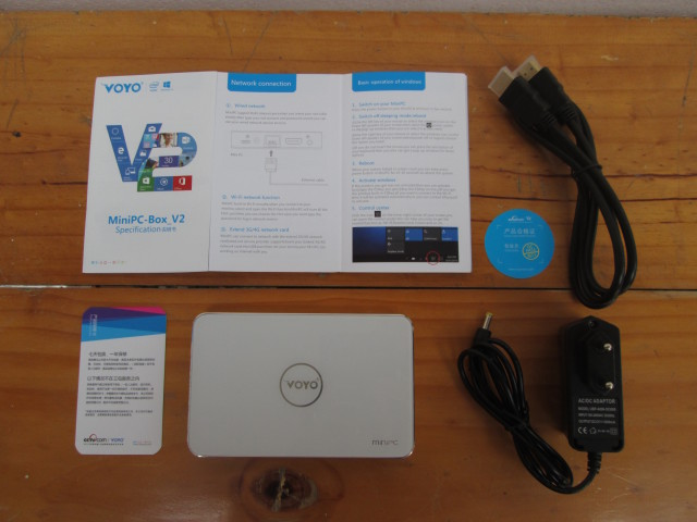 Voyo V2 mini PC and its Accessories (Click to Enlarge)