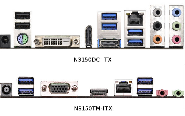 N3150DC-ITX mini-ITX Board vs N3150TM-ITX thin mini-ITX Board