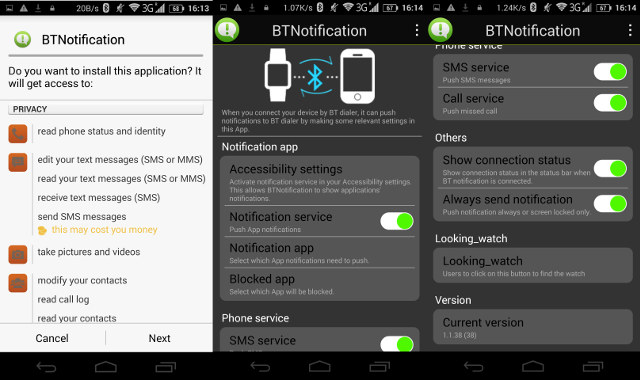 BT Notification Permissions and App Settings (Click to Enlarge)