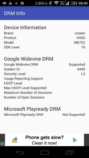 DRM Info Android App Reports Widevine and Playready DRM Information