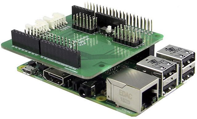Raspberry Pi to Arduino Connector Shield Add-on V2.0 Connected to Raspberry Pi 2
