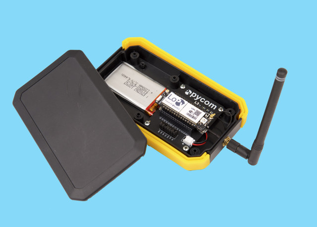 LoPy Kit with IP64 enclosure, LoPy Board, antenna, and battery