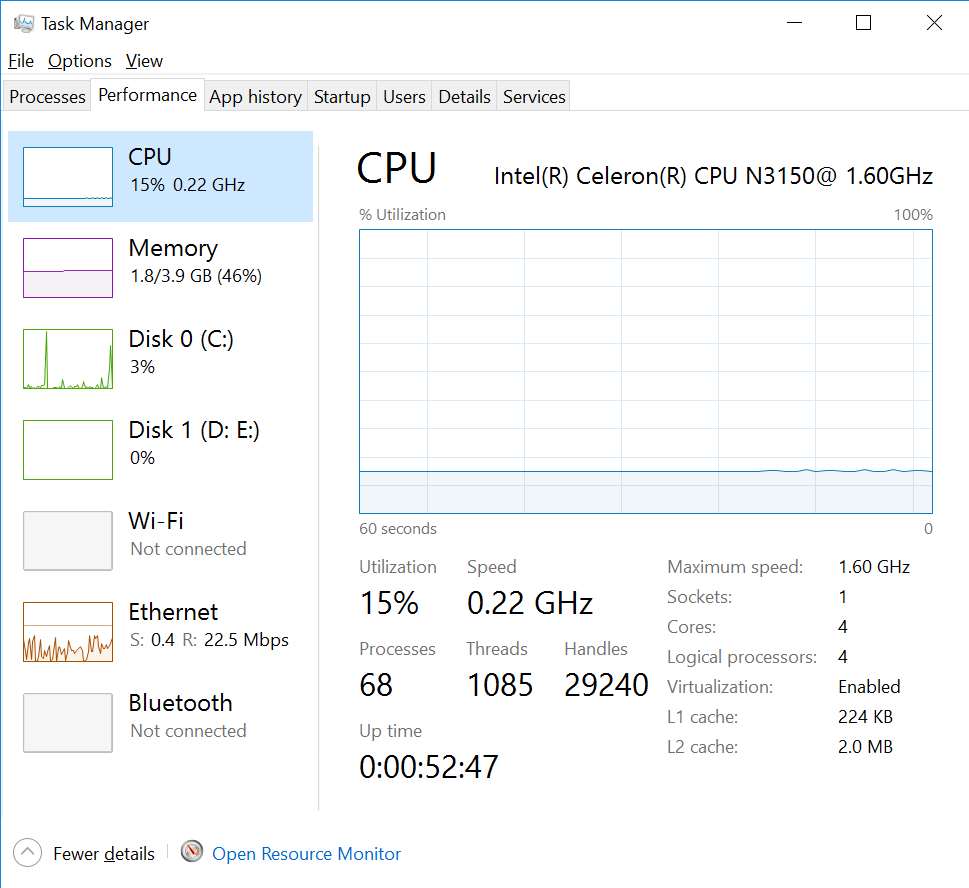 how to check cpu speed on win 10