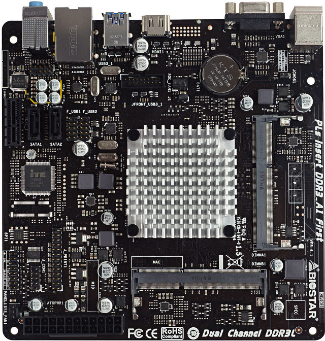 BIOSTAR J3160NH mini-ITX Motherboard (Click to Enlarge)
