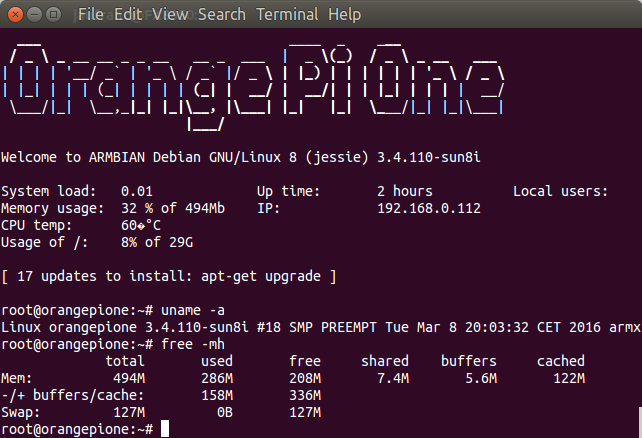 Orange Pi One Board Quick Start Guide with Armbian Debian
