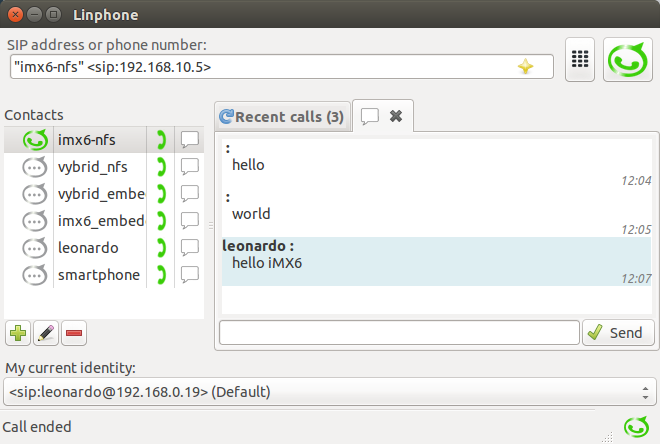 Figure 9: Message exchange between the Colibri iMX6 and the PC/notebook