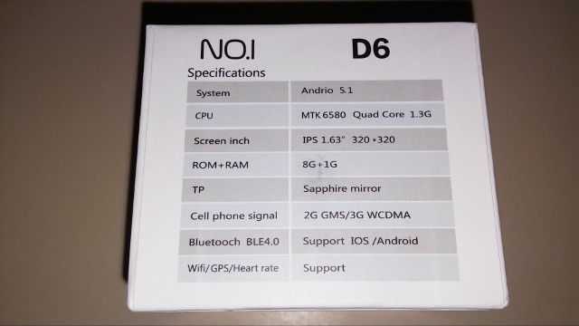 No1_D6_Smartwatch_Specs