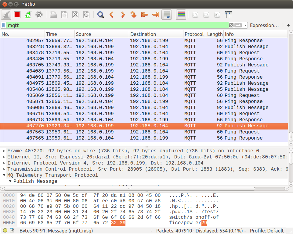Wireshark MQTT Capture - Click to Enlarge
