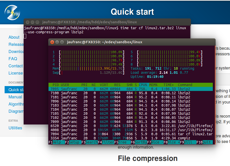 Tar with lbzip2 on a 8-core Processor - Click to Enlarge
