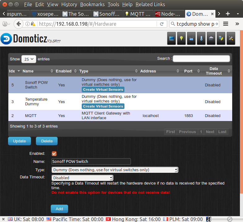 How to use Sonoff POW with ESPurna Firmware and Domoticz