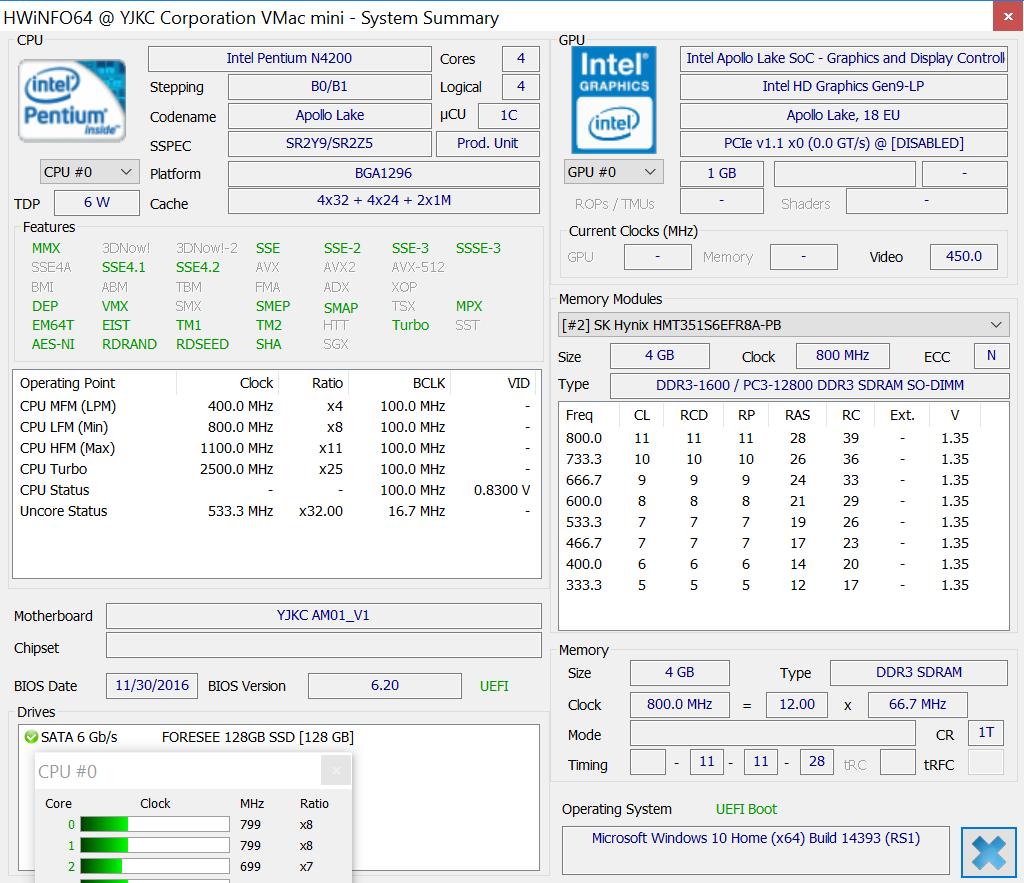 Voyo VMac Mini mini PC (Intel Pentium N4200) Benchmarks