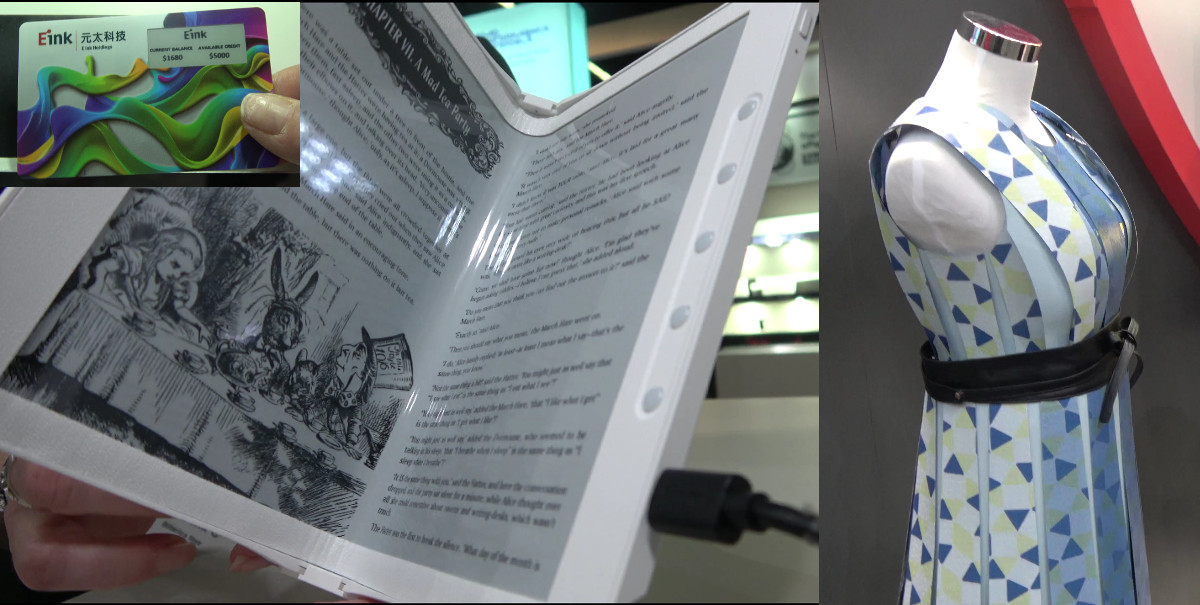 e ink demonstrated a foldable e book prototype color changing