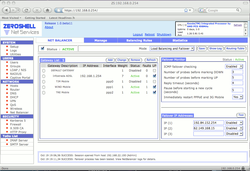 ZeroShell Firewall/Router Linux Distribution Works on x86