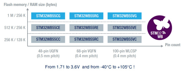 STMicro STM32WB Dual Core Cortex M4/M0+ MCU Comes with