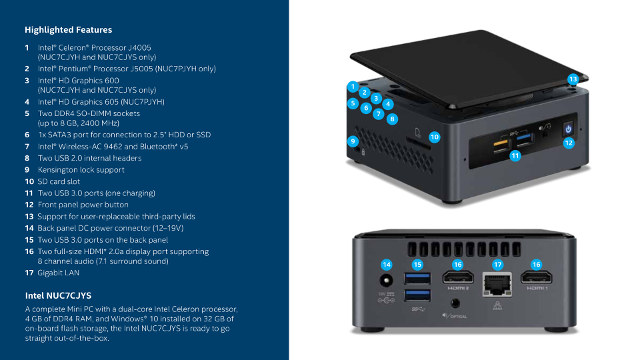"Intel NUC7CJYSAL ""June Canyon"" Gemini Lake NUC Mini PC Review Include Windows 10 and Ubuntu"