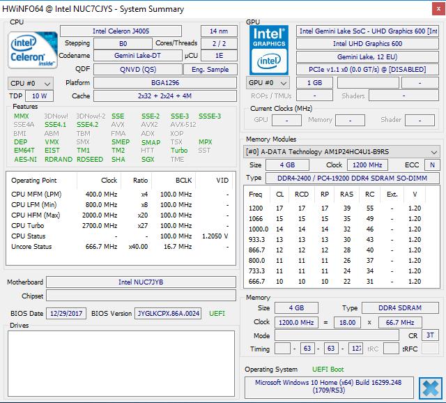 Intel NUC7CJYSAL