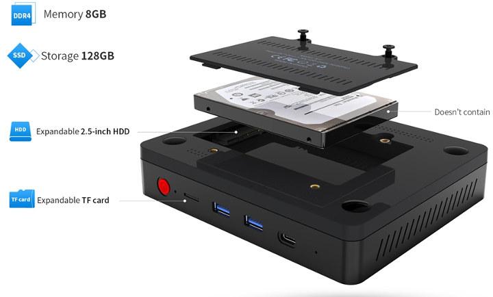 Intel Pentium N5000 mini PC with HDD, SSD