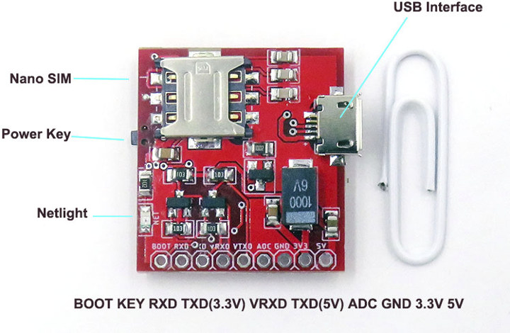 SIM7020E NB-IoT mini development board