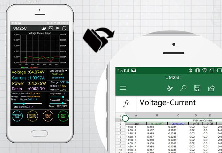 UM25C-Android-App-Data-Export-Excel