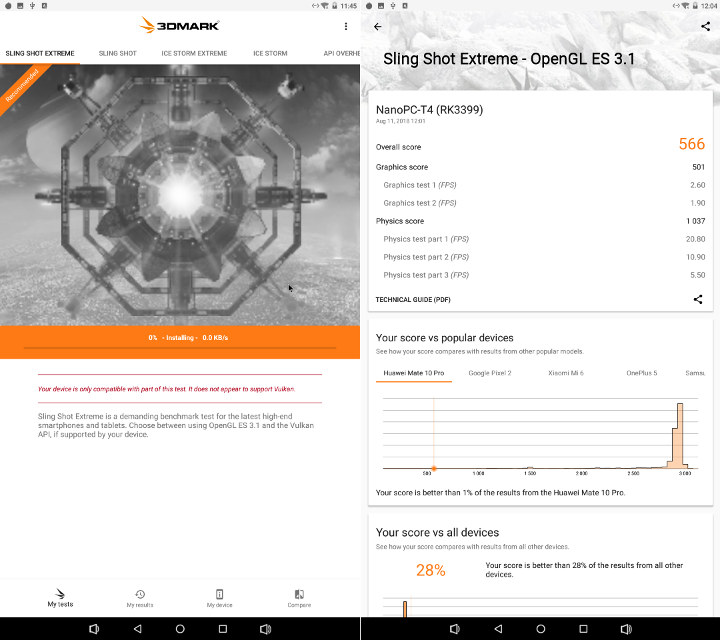 NanoPC-T4 3DMark Sling Shot Extreme OpenGL ES 3.1