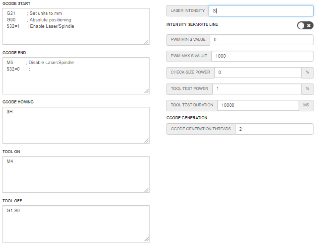 LaserWeb Settings Genmitsu CNC Router