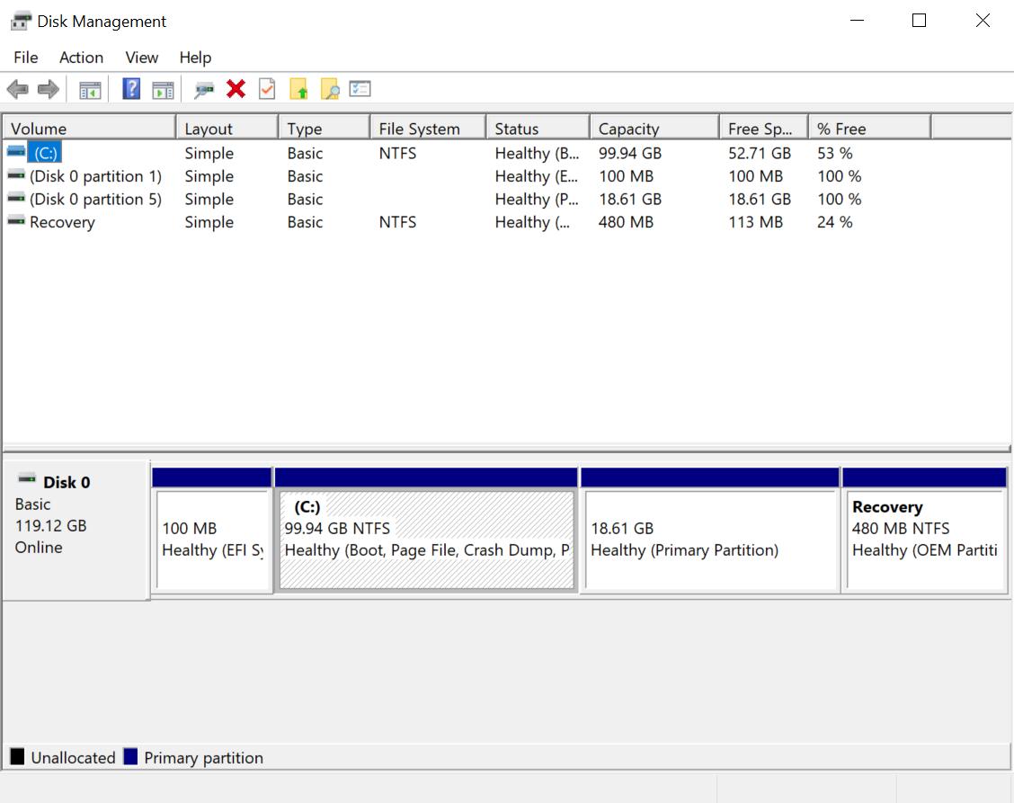 falcon mini laptop disk management