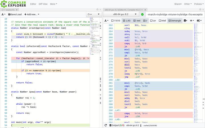 Compiler Explorer Dissassembly
