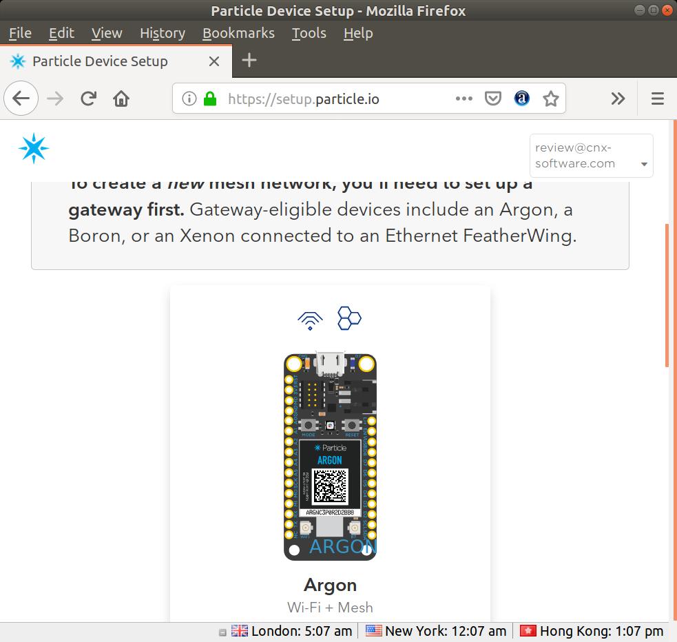 Particle Argon Gateway Setup